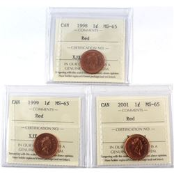 1998, 1999, 2001 Canada 1-cent ICCS Certified MS-65 Red. 3pcs.