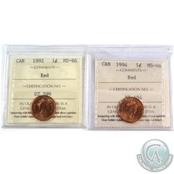 1992 & 1994 Canada 1-cent ICCS Certified MS-66. 2pcs