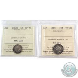 1882H Canada 5-cent ICCS Certified EF-45 & 1888 10-cent ICCS Certified VF-20. 2pcs