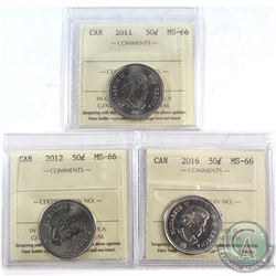2011, 2012 & 2016 Canada 50-cent ICCS Certified MS-66. 3pcs