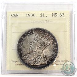 1936 Canada Silver $1 ICCS Certified MS-63