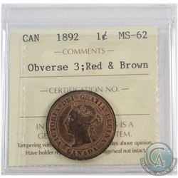 1892 Canada 1-cent Obverse 3 ICCS Certified MS-62 Red and Brown