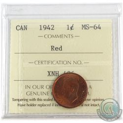 1942 Canada 1-cent ICCS Certified MS-64 Red