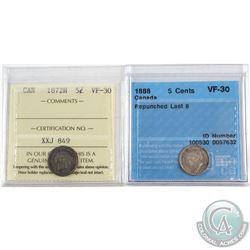 1872H Canada 5-cent ICCS Certified VF-30 & 1888 5-cent Repunched Last 8 CCCS Certified VF-30. 2pcs