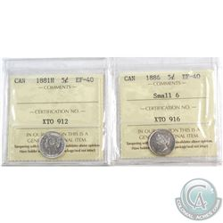1881H Canada 5-cent & 1886 5-cent Small 6 ICCS Certified EF-40. 2pcs