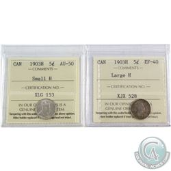 1903 Canada 5-cent Large H ICCS Certified EF-40 & 1903H 5-cent Small H AU-50. 2pcs