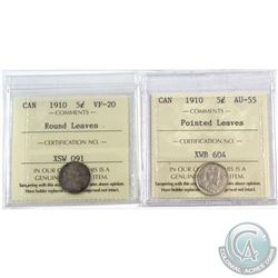 1910 Canada 5-cent Round Leaves ICCS Certified VF-20 & 1910 5-cent Pointed Leaves AU-55. 2pcs