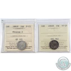 1881H Canada 10-cent Obverse 2 ICCS Certified F-15 & 1882H 10-cent VF-20. 2pcs