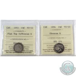 1893 Canada 10-cent Flat Top 3 Obverse 6 & 1894 10-cent Obverse 6 ICCS Certified VG-10. 2pcs