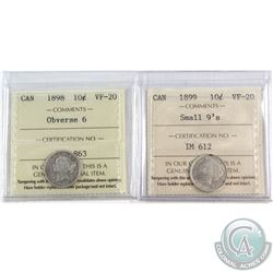 1898 Canada 10-cent Obverse 6 & 1899 10-cent Small 9's ICCS Certified VF-20. 2pcs
