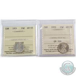 1931 Canada 10-cent ICCS Certified AU-55 & 1932 10-cent AU-50. 2pcs