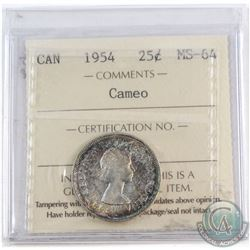 1954 Canada 25-cent ICCS Certified MS-64 Cameo