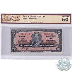 1937 $2 BC-22c, Bank of Canada, Coyne-Towers, S/N: B/R2362710, BCS Certified AU-50 (Minor tear)