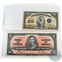 1923 Dominion of Canada 25c McCavour-Saunders & 1937 Bank of Canada $2 Coyne-Towers Notes. 2pcs