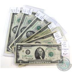 Estate Lot of 6x USA $2 Circulated Notes. 6pcs