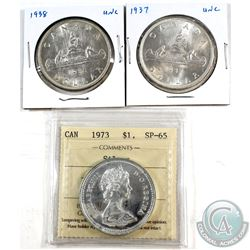Estate Lot of Canada Silver Dollars - 1937, 1938 & 1973 Silver $1 ICCS Certified SP-65. 3pcs