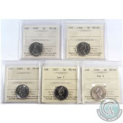 Estate Lot of 5x Canada 5-cent ICCS Certified - 1958 MS-64, 1964 MS-64, 1966 MS-64, 1977 Low 7 MS-64