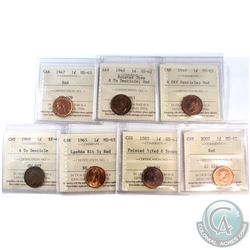 Estate Lot of 7x 1947-2007 Canada 1-cent ICCS Certified - 1947 MS-63 Red, 1948 A to Denticle; Rotate