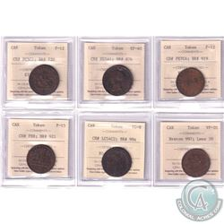 Estate Lot of 6x Canada Bank Tokens ICCS Certified - CH# PC5C1 BR# 720 F-12, CH# NS5A1 BR# 876 EF-40