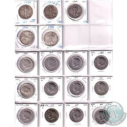 Estate Lot of 17x 1934-1979 USA Half Dollars in 2x2's and Plastic Page. Included are 5 Silver coins