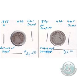 1840 USA Half Dime No Drapery & 1854O USA Half Dime Arrows on Date. 2pcs