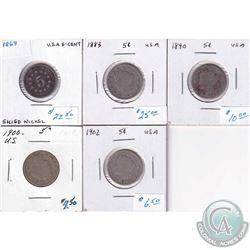 1868, 1883, 1890, 1900 & 1902 USA Nickels. 5pcs