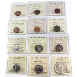 1940-1982 Canada 1-cent to Silver $1 ICCS Certified Collection- 1940 1-cent MS-64 Red, 1942 1-cent M