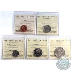 1-cent 2001, 5-cent 2001P, 10-cent 2001P Volunteers, 25-cent 2001P & 50-cent 2001P All ICCS MS-66. 5