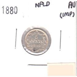 1880 Canada NFLD 5-cent AU-50 (impaired)