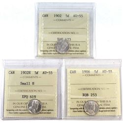 1902, 1902H Small H & 1906 Canada 5-cent ICCS Certified AU-55. 3pcs