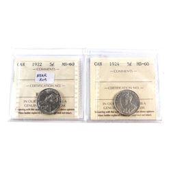 1922 Canada 5-cent Near Rim & 1924 ICCS Certified MS-60. 2pcs