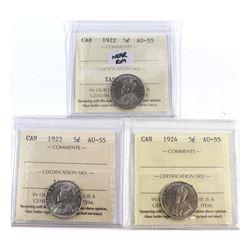 5-cent 1922 Near Rim, 1923 & 1924 ICCS Certified AU-55. 3pcs