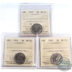 5-cent 1930, 1931 & 1932 ICCS Certified AU-55. 3pcs