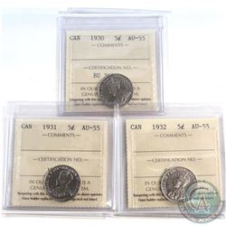 5-cent 1930, 1931 & 1932 ICCS Certified AU-55. 3pcs