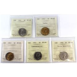 1941-1964 Canada 5-cent ICCS Certified - 1941 MS-62, 1942 Tombac MS-63, 1943 MS-63, 1951 Commemorati