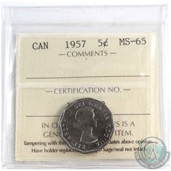 1957 Canada 5-cent ICCS Certified MS-65.