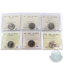 1964-1989 Canada 5-cent ICCS Certified MS-64 Collection. You will receive 1964, 1975, 1977 Low 7, 19