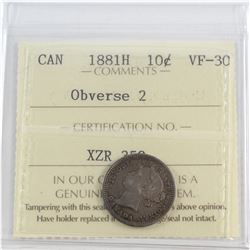 1881H Canada 10-cent Obverse 2 ICCS Certified VF-30