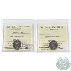 2017 Canada 150th & 2018 Canada 10-cent ICCS Certified MS-66. 2pcs.
