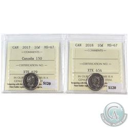 2017 Canada 150th & 2018 Canada 10-cent ICCS Certified MS-67. 2pcs.