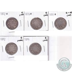 1872-1894 Canada 25-cent Collection (impaired). You will receive 1872H Good, 1974H Good, 1881H G-VG,