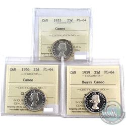 1955 Cameo, 1956 Cameo, 1959 Heavy Cameo Canada 25-cent ICCS Certified PL-64 Collection. 4pcs.
