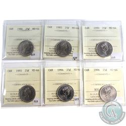 1984-1996 Canada 25-cent ICCS Certified MS-64. You will receive 1984, 1985, 1990, 1993, 1994, 1996.