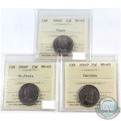 2004P Poppy, St. Croix, Caribou Canada 25-cent ICCS Certified MS-65 Collection. 3pcs.