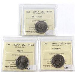 2004P St Croix, 2004P Poppy, 2005P Caribou Canada 25-cent ICCS Certified MS-65. 3pcs.