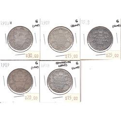 1903-1910 Canada 50-cent Good - 1903H, 1907, 1908, 1909 & 1910 Edwardian Leaves (coins have various