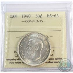 1940 Canada 50-cent ICCS Certified MS-63