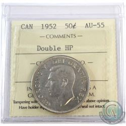 1952 Canada Double HP 50-cent ICCS Certified AU-55.