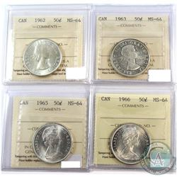 1962, 1963, 1965, & 1966 Canada 50-cent ICCS Certified MS-64. 4pcs.