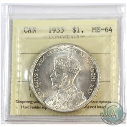 1935 Canada $1 ICCS Certified MS-64.